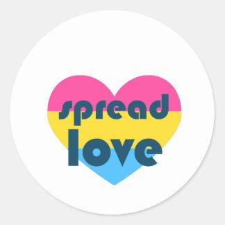 Uitgespreide Liefde Pansexual Ronde Sticker