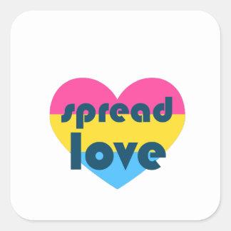Uitgespreide Liefde Pansexual Vierkante Sticker