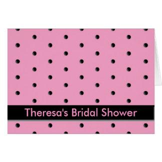 Uitnodiging: Roze en Zwart Stip Briefkaarten 0
