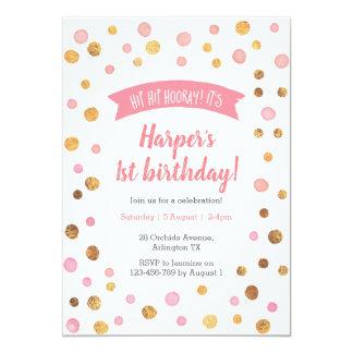 Uitnodiging | van de verjaardag Roze en gouden