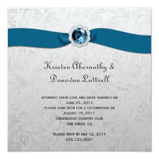 Uitnodiging van het Huwelijk van de blauwgroen Gem