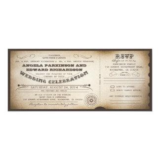 uitnodiging van het huwelijks de vintage kaartje
