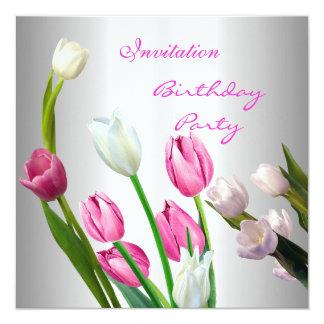 Uitnodiging Verjaardag vijftigste Elegante Roze &