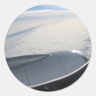 Uitzicht 2 van het vliegtuig ronde stickers