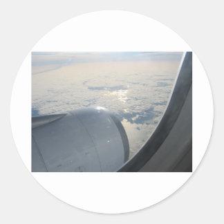 Uitzicht 3 van het vliegtuig ronde sticker