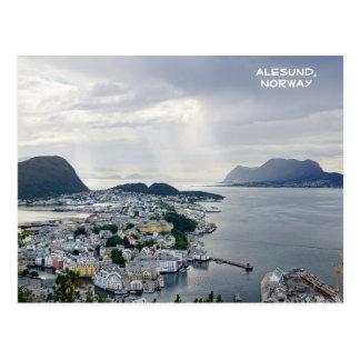 Uitzicht van Alesund, Noors zee, Noorwegen Briefkaart
