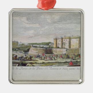 Uitzicht van Bastille en Porte heilige-Antoine Zilverkleurig Vierkant Ornament
