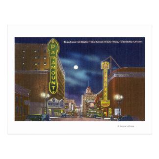 Uitzicht van Broadway bij Nacht Briefkaart