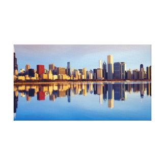 Uitzicht van de horizon van Chicago met bezinning Canvas Afdrukken