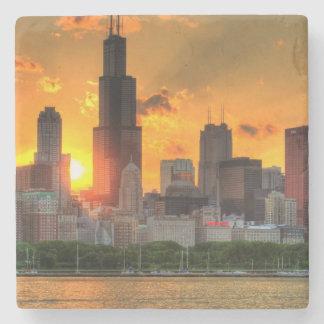 Uitzicht van de horizon van Chicago van Adler Stenen Onderzetter