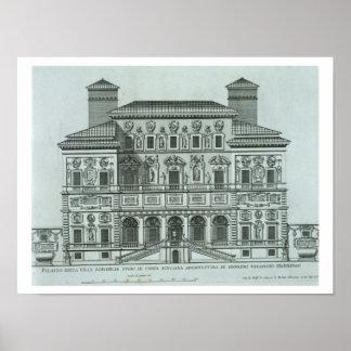Uitzicht van de voorzijde van Villa Borghese, Rome Poster