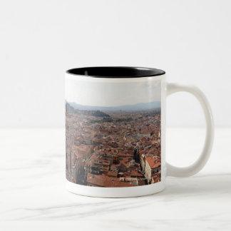 Uitzicht van Florence vanaf de bovenkant van de Tweekleurige Koffiemok