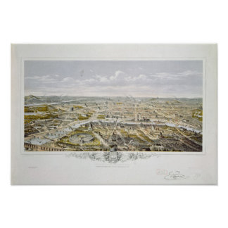 Uitzicht van Parijs van Bois de Boulogne Poster