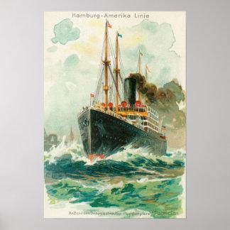 Uitzicht van Patricia op zee, Hamburg-Amerika Poster