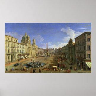 Uitzicht van Piazza Navona, Rome Poster