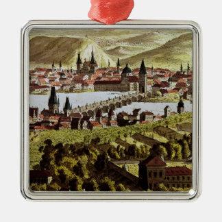 Uitzicht van Praag Zilverkleurig Vierkant Ornament
