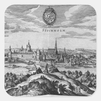 Uitzicht van Stockholm Vierkante Sticker