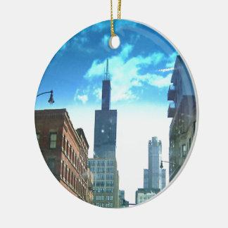 Uitzicht van Toren Willis Rond Keramisch Ornament