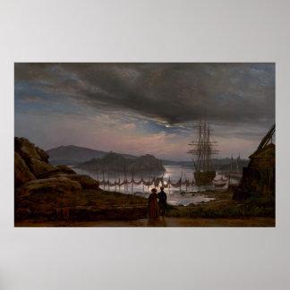 Uitzicht van Vaekero dichtbij Christiania door J.C Poster