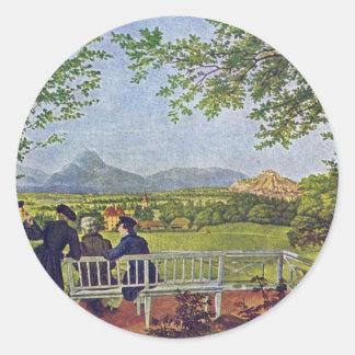 Uitzichten van Salzburg door Julius Schnorr Von Ronde Sticker
