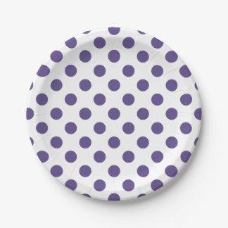 Ultraviolette stippen op wit papieren bordje