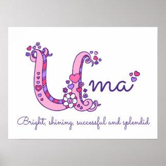 Uma aanvankelijke de naambetekenis van de poster
