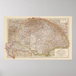 Ungarn, de Kaart van de Atlas van Hongarije Poster