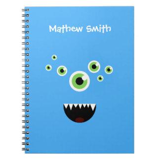 Uniek Grappig Gek Leuk Blauw Monster Ringband Notitieboek