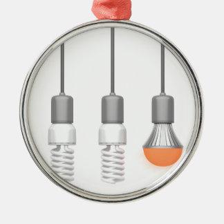 Unieke het gloeien LEIDEN licht Zilverkleurig Rond Ornament