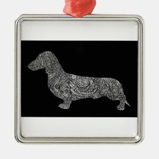 Untitled464 copydashound zilverkleurig vierkant ornament