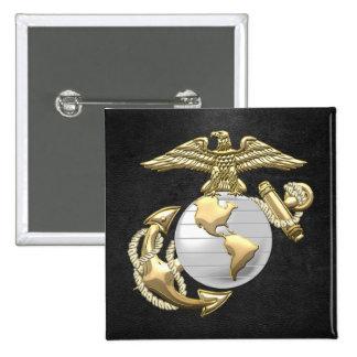 USMC [3D] Eagle, (EGA) Wereldbol & Anker Vierkante Button 5,1 Cm