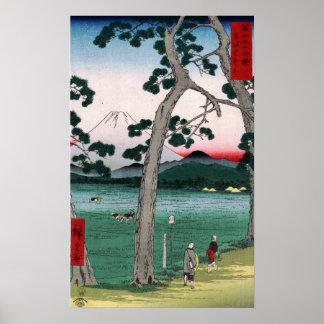 Utagawa Hiroshige Fuji op de Linkerzijde van Road Poster