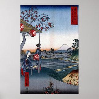 Utagawa Hiroshige het Theehuis met het Uitzicht Poster