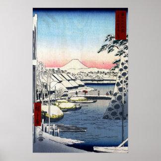 Utagawa Hiroshige Riverbank in Sukiya in Edo Poster