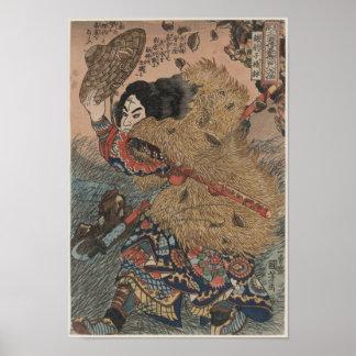 Utagawa Kuniyoshi - de houtdrukdruk van Kinhyoshi  Poster