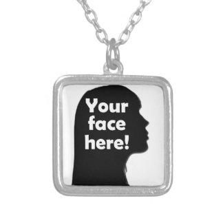 uw-gezicht-hier-exemplaar zilver vergulden ketting