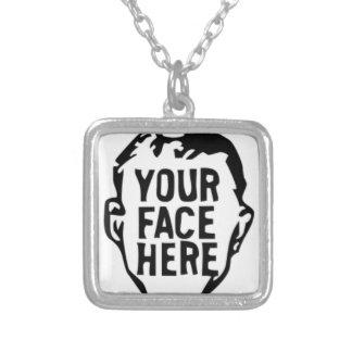 uw-gezicht-hier zilver vergulden ketting