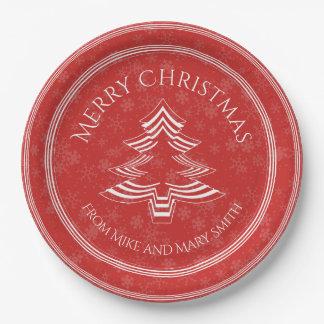 Uw Groet - de Rode/Witte Doopvont van de Kerstboom Papieren Bordje