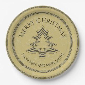 Uw Groet/Gouden/Zwarte Doopvont van de Kerstboom Papieren Bordje