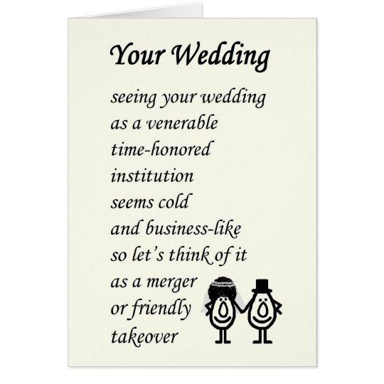 Uw huwelijk een grappig huwelijksgedicht kaart zazzle