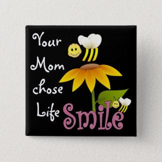Uw Mamma koos het Leven Vierkante Button 5,1 Cm