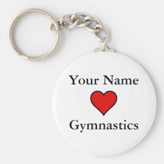 (Uw Naam) de Gymnastiek van Harten Basic Ronde Button Sleutelhanger