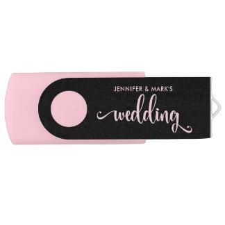 Uw Roze en Zwart Geheugen | van het Huwelijk Swivel USB 3.0 Stick