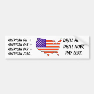 V.S.-kaart-vlag, Amerikaanse olie +Amerikaans gas  Bumpersticker