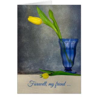 vaarwel-gele tulp in ijscoupeglas kaart