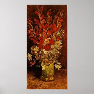Vaas met het Fine Art. van Gladioli & Carnations Poster