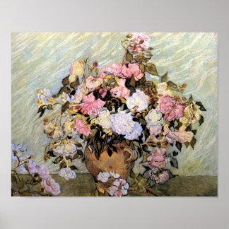 Vaas met Pink Roses Van Gogh Fine Art. Poster