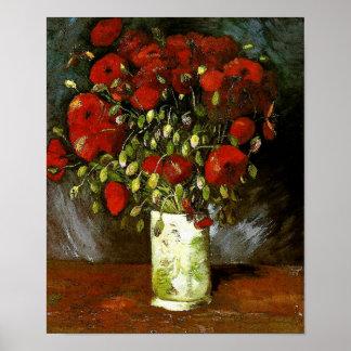 Vaas met Red Poppies Van Gogh Fine Art. Poster