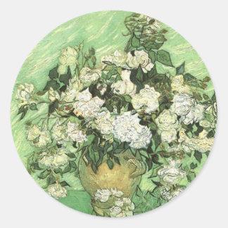 Vaas met Rozen, Vincent van Gogh 1890 Ronde Sticker