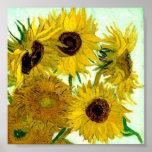 Vaas met Twaalf Zonnebloemen, Van Gogh Fine Art. Poster